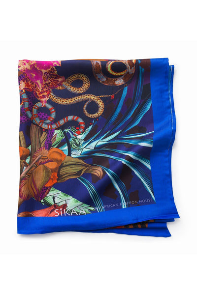 """Crowned Queen Nandi"" Hand Painted Print Silk Scarf"