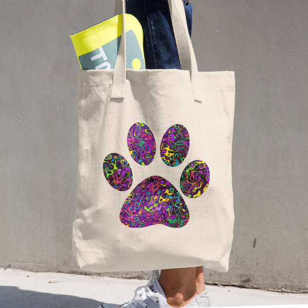 Liquid Colored Cat Paw Cotton Tote Bag
