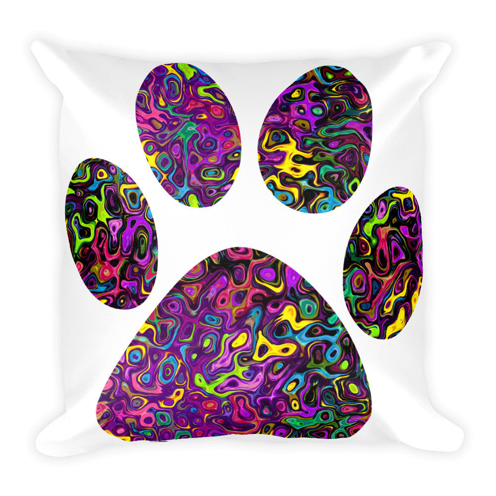 Liquid Colored Cat Paw Square Pillow