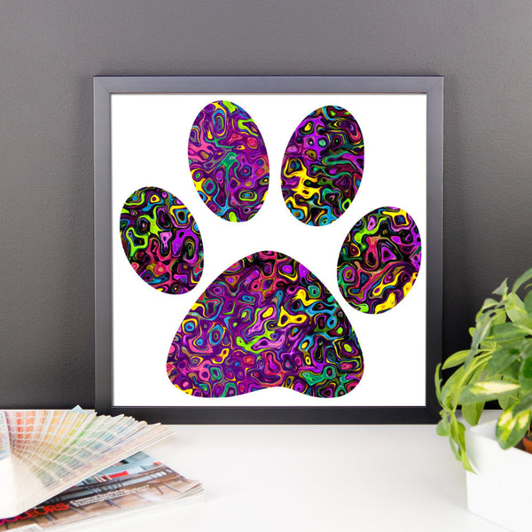 Liquid Colored Cat Paw Framed photo paper poster