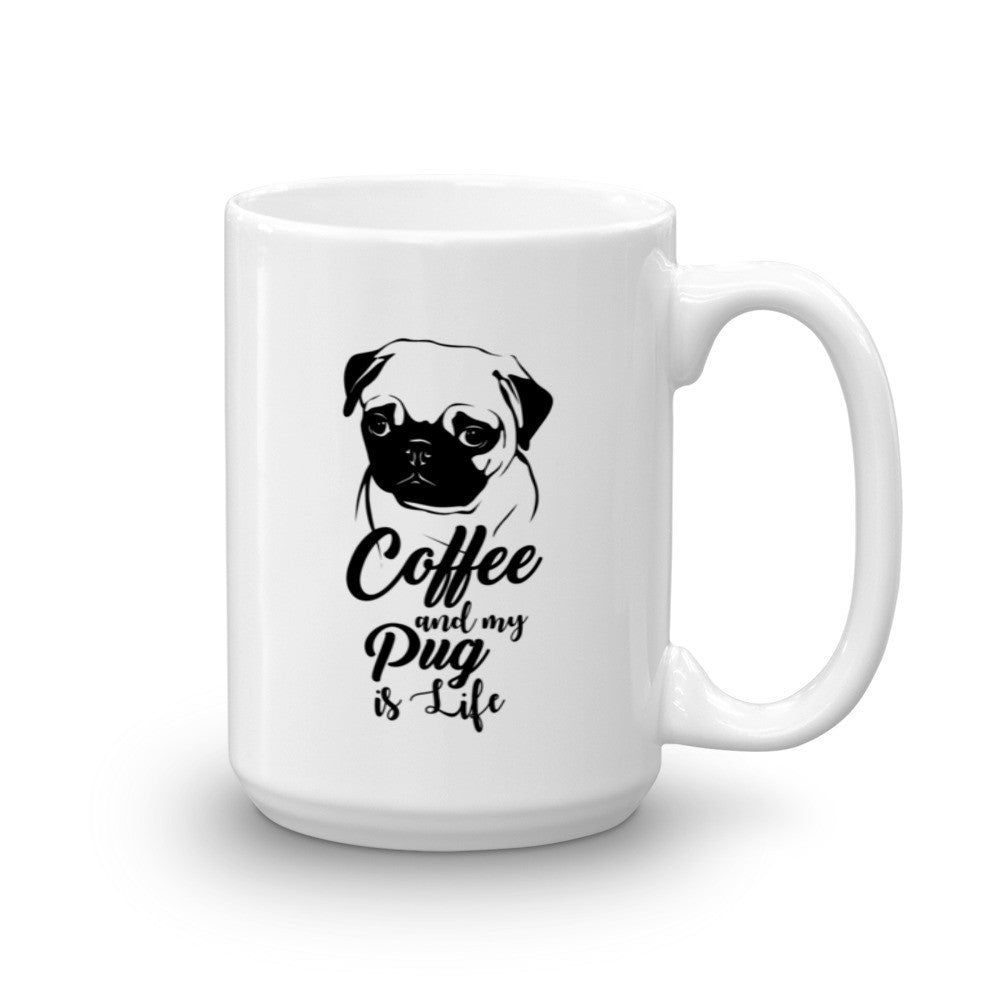 """Coffee and my Pug is Life"" Mug. Perfect for your morning coffee. :)"