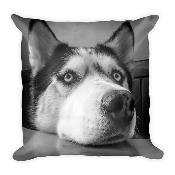 Siberian Husky Black and White Square Pillow