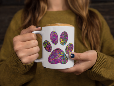 Liquid Colored Cat Paw White Ceramic 11oz Mug
