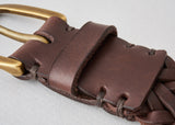 Awling Braided Belt - Walnut Brown / Brass