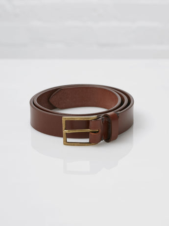 Lissom + Muster x Cherchbi English Bridle Leather and Brass Belt (Conker)