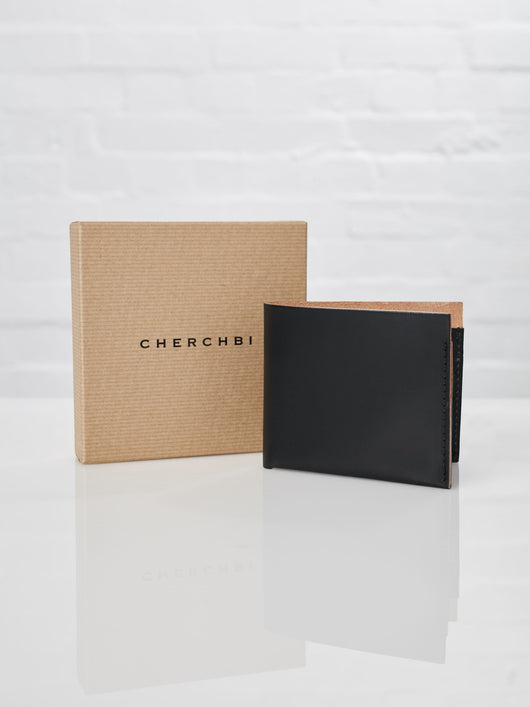 Lissom + Muster x Cherchbi Saddle Leather Four Card Wallet (Black)