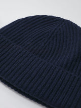 Johnstons of Elgin Ribbed Cashmere Hat (Navy)