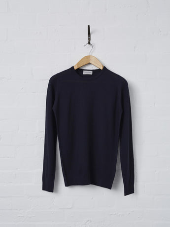 John Smedley 1.Singular Long Sleeve Merino Crew Neck (Midnight)