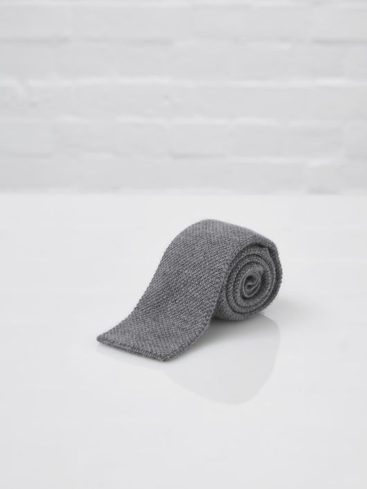 Johnstons of Elgin Men's Knitted Cashmere Tie (Light Grey)