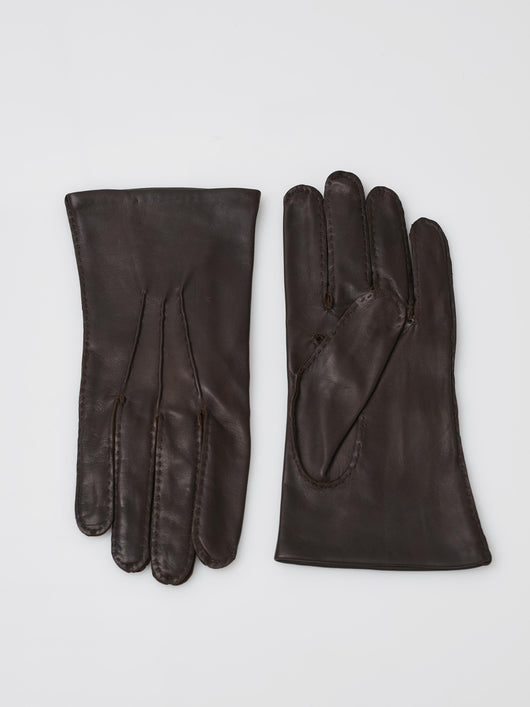 Chester Jeffries Cape Leather Dress Gloves, Silk Lined (Brown)