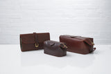Daines + Hathaway Leather Wash Bag, Small (Chestnut)