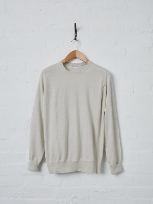 Lissom + Muster 1-ply Cashmere Crew Neck Sweater (Limestone)