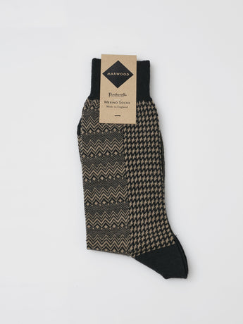 Marwood Merino Split Design Socks (Black/Beige)