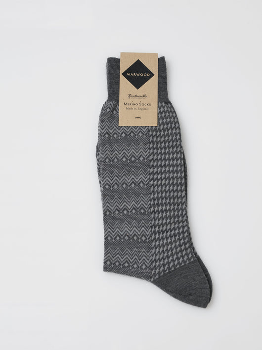 Marwood Merino Split Design Socks (Grey/Grey)