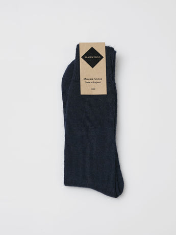 Marwood Plain Knit Mohair Socks (Navy)