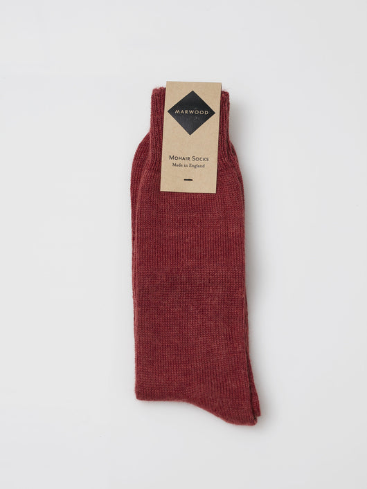Marwood Plain Knit Mohair Socks (Rouge)