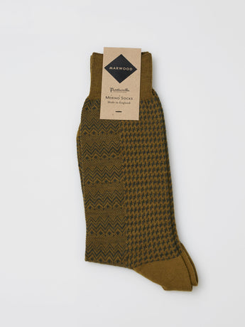 Marwood Merino Split Design Socks (Olive/Khaki)