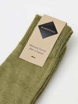 Marwood Plain Knit Mohair Socks (Sage)