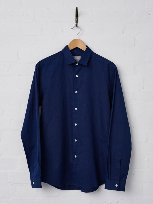 Smyth & Gibson Natural Indigo-Dyed Albiate Denim Shirt (Navy)