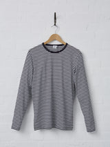 Sunspel Men's Cotton Long Sleeve T-Shirt (Navy + White Stripe)
