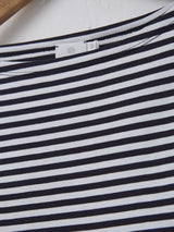 Sunspel Women's 3/4 Sleeve Boat Neck T-Shirt (White + Navy Stripe)