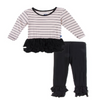 Kickee Pants-Long Sleeve Double Ruffle Outfit Set in Girl Parisian Stripe