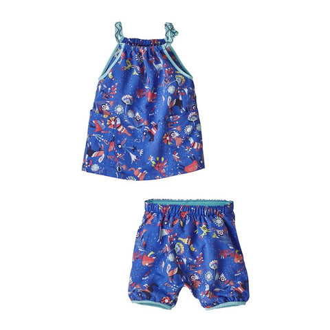 Kickee Pants - Solid SS One Piece - Heritage Blue with Flag Red Trim