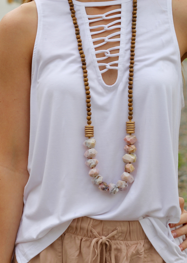 Betsy Pittard - Angelica Necklace - Pink Opal