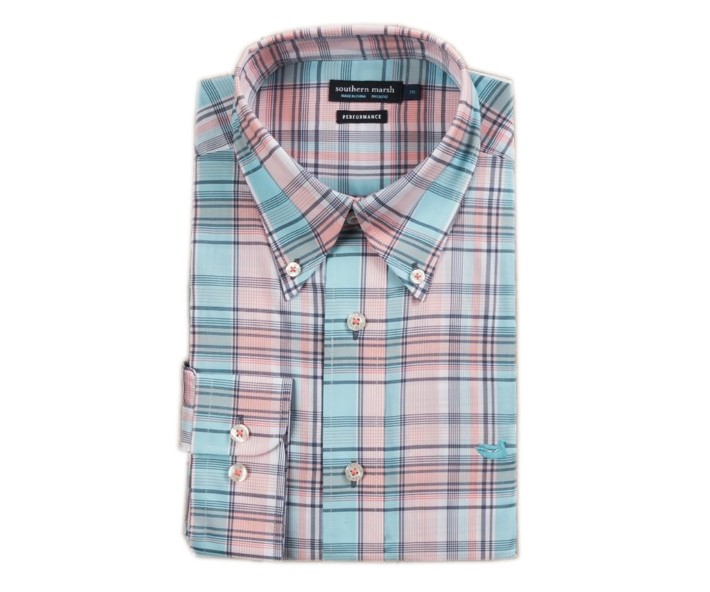 Southern Marsh - Kershaw Performance Plaid Dress Shirt - Coral and Teal