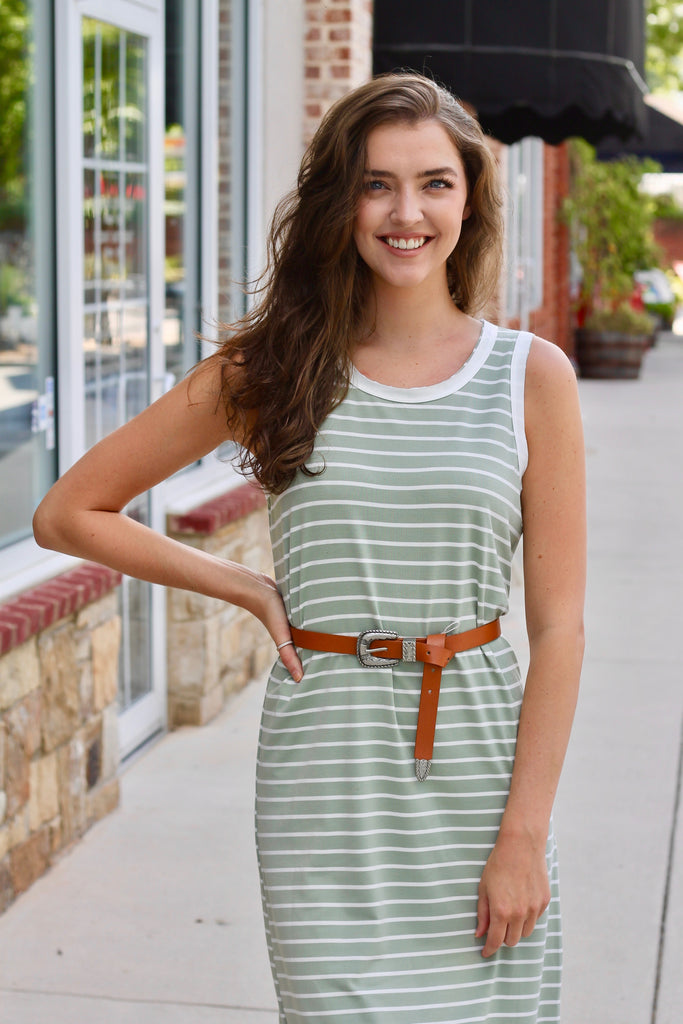 Mara Striped Midi Dress