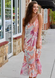 Ruffle Hem Tie Dye Midi Dress