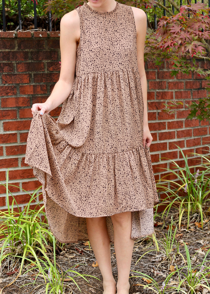 Mocha Ruffle Midi Dress