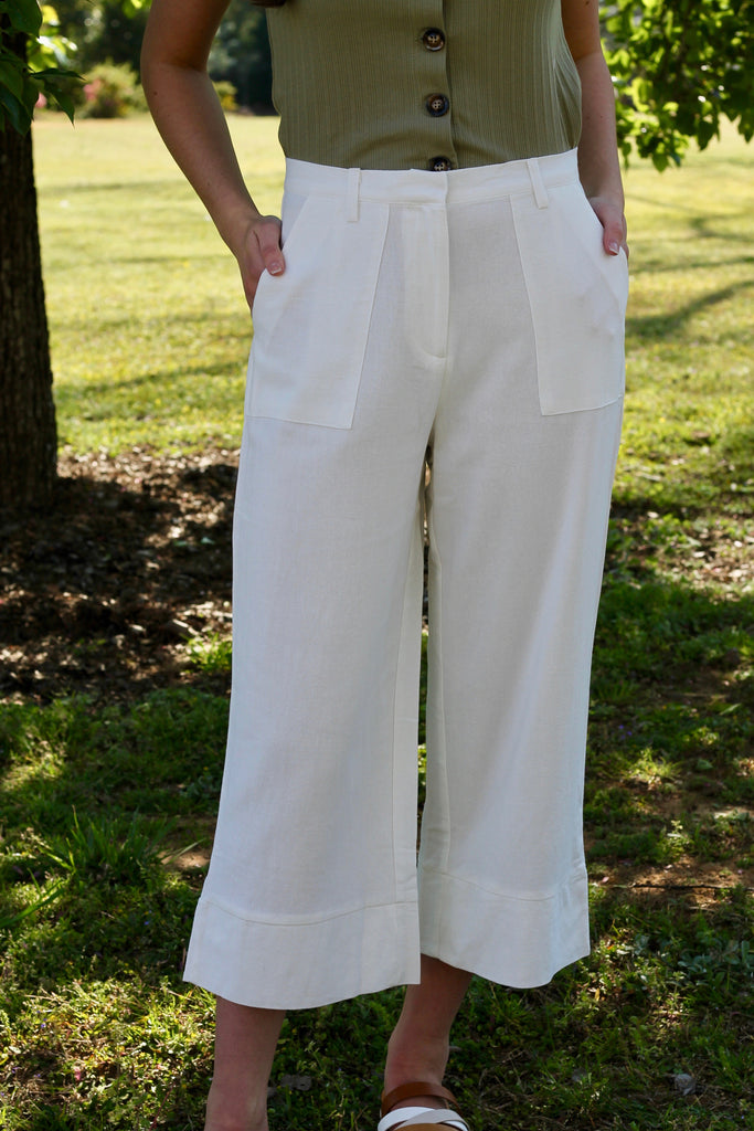 Linen Cropped Pant - Off White