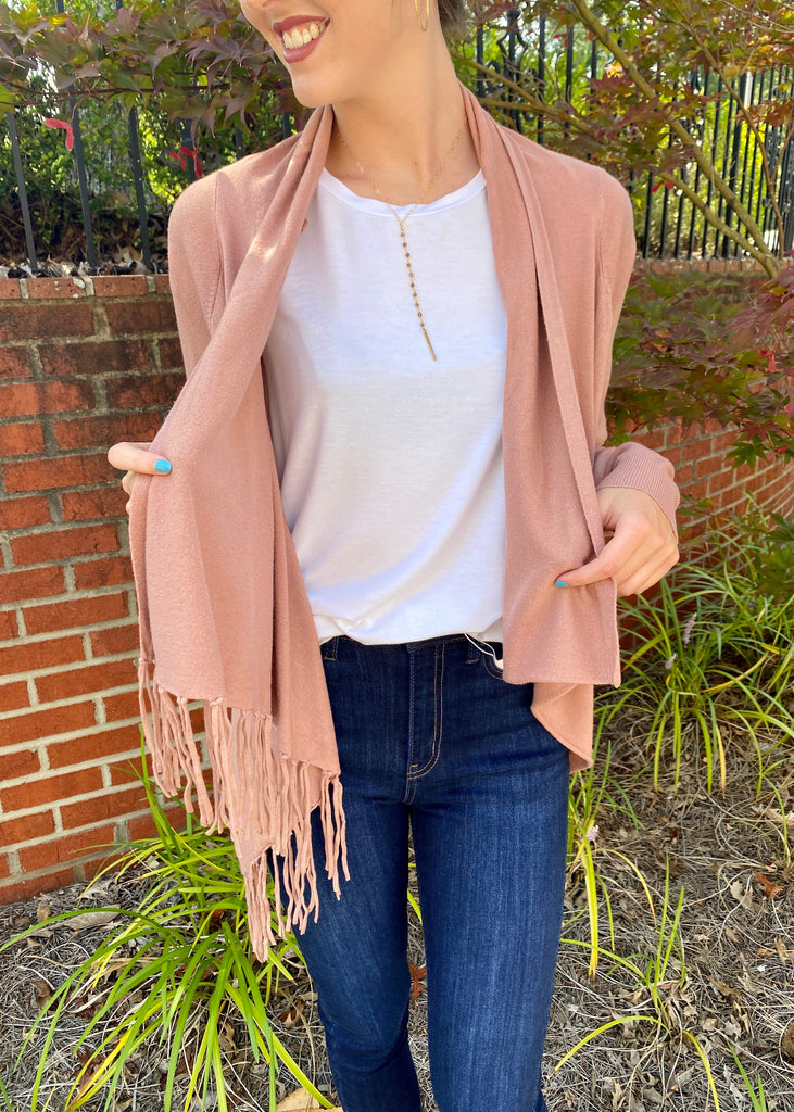 Fringed Cowl Neck Wrap Sweater