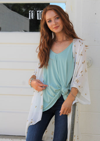 Palm Springs Leaf V-Neck Top - Multi