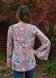 Blushing Floral Bell Sleeve Top
