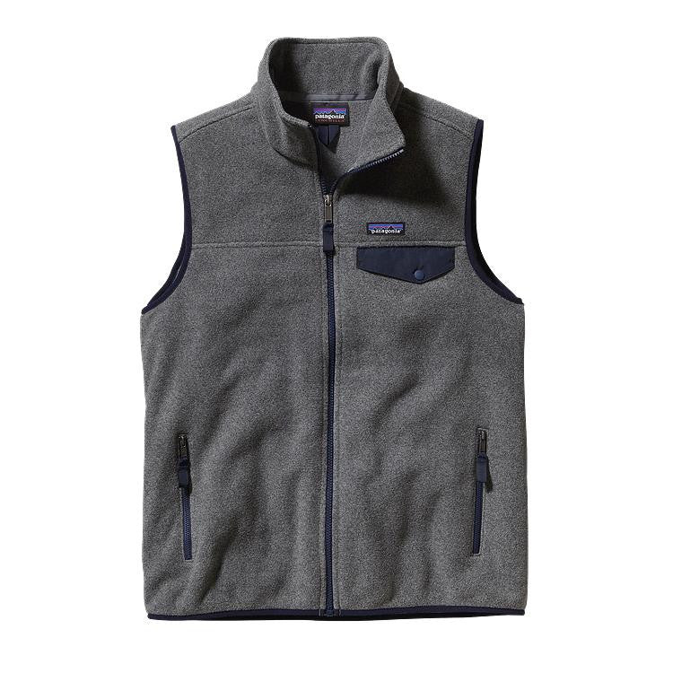 Men's Patagonia - Lightweight Synchilla Snap-T Vest - Nickel with Navy Blue