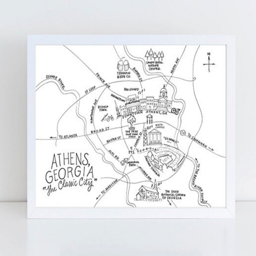 Uga Campus Map Printable.Athens Map Print Pen And Ink Empire South