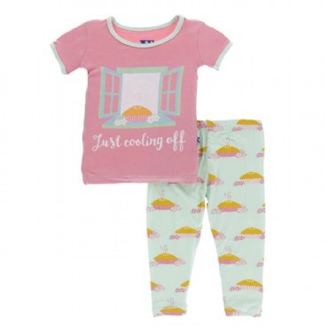 Kickee Pants - Print SS Pajama Set - Apple Pie Blossom