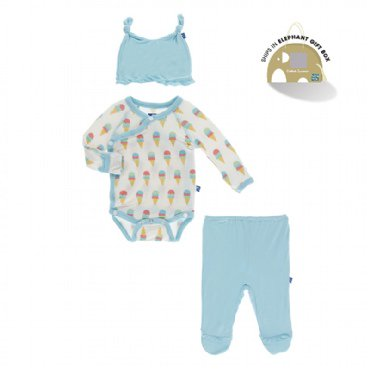 Kickee Pants - Kimono Newborn Gift Set - Heritage Blue Motorcycle