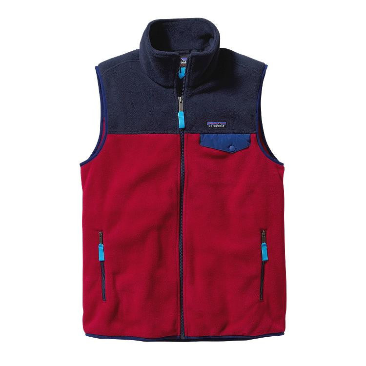 Men's Patagonia - Lightweight Synchilla Snap-T Vest - Classic Red/Navy Blue