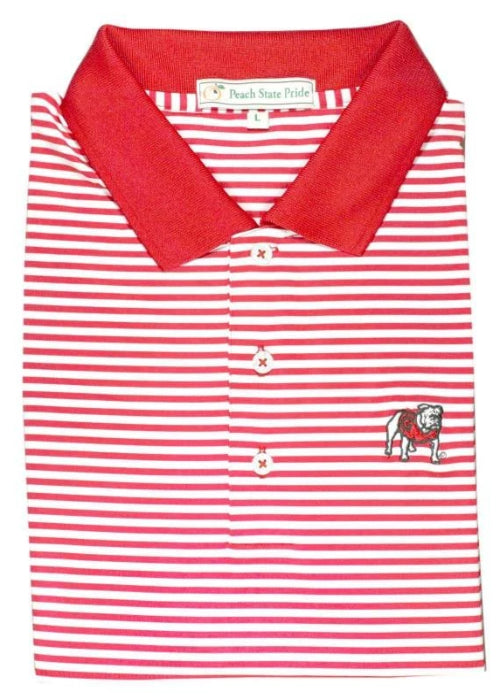 UGA Standing Dawg Classic Stripe Polo - Knit Collar - Red & White