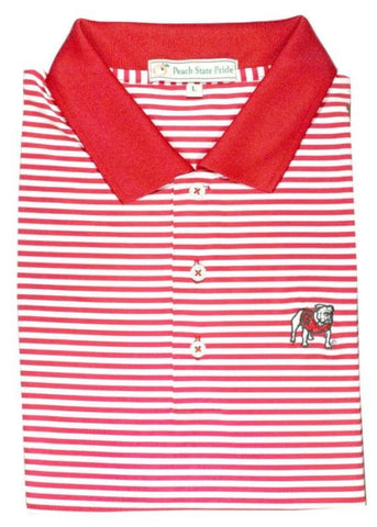 UGA Super G Georgia Dogwood Stripe Polo - Knit Collar- Red & White