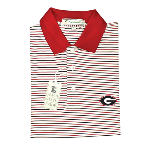 UGA Super G Georgia Classic Stripe Polo - Red & Black - Knit Collar