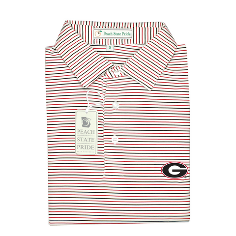 UGA Bulldog Head Magnolia Stripe Polo - Red & Black - Self Collar