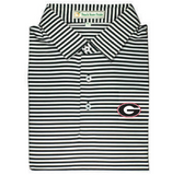 UGA  Super G Georgia Stripe Polo - Black & White - Self Collar