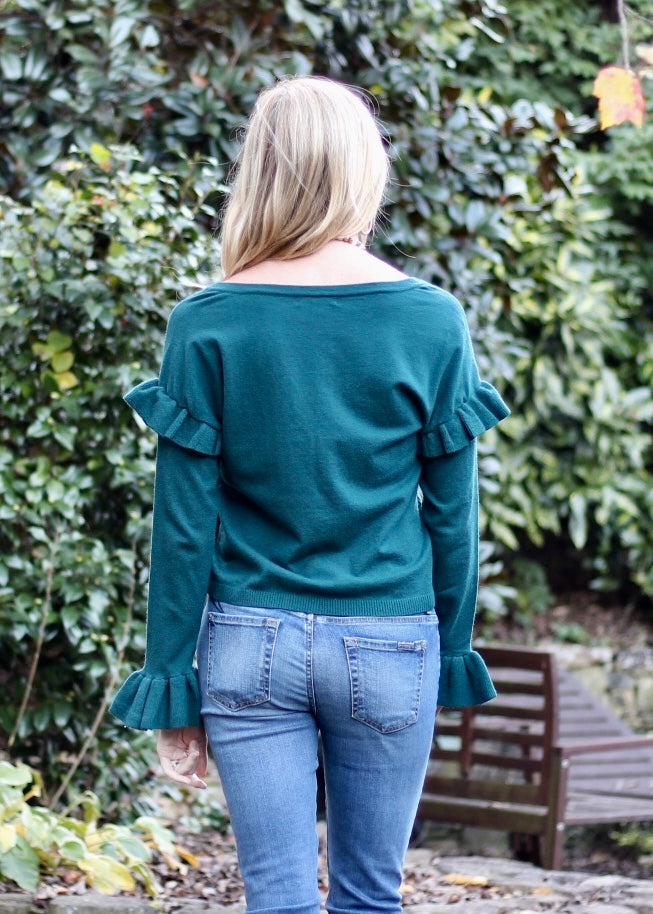 Out To Lunch Ruffle Sleeve Sweater - Evergreen