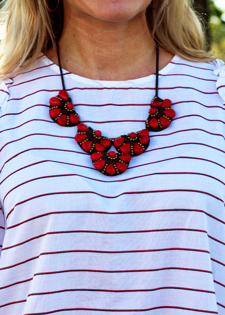 Beaded Statement Necklace - Red
