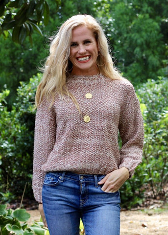 Scoop V-Neck Sweater - Dusty Pink