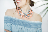 Hearne Dry Goods Co. - Snapdragon Necklace - Coral/Light Blue